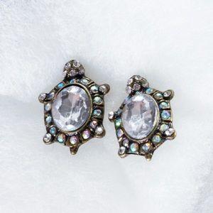 A&C AB crystal turtle earrings EUC